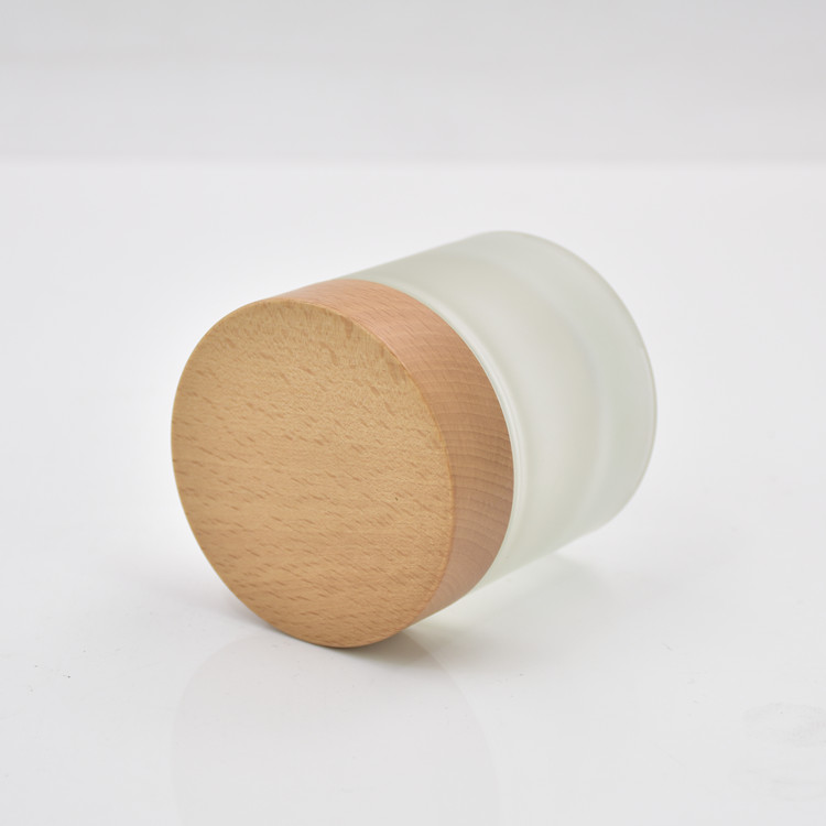 frosted jar with wood lid